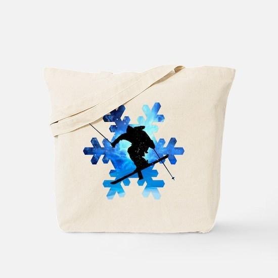 Winter Landscape Freestyle skier in Snowf Tote Bag