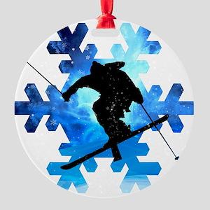 Winter Landscape Freestyle skier in Round Ornament
