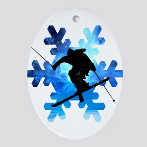 Winter Landscape Freestyle skier in Oval Ornament
