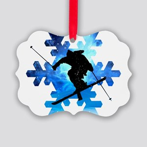 Winter Landscape Freestyle skier Picture Ornament
