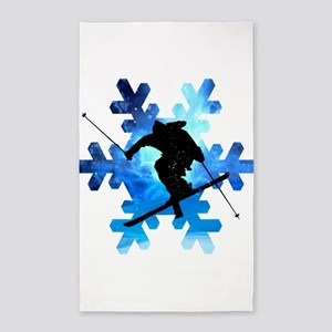Winter Landscape Freestyle skier in Snowf Area Rug