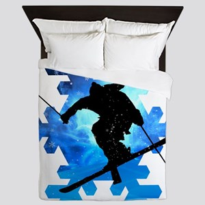 Winter Landscape Freestyle skier in Sn Queen Duvet