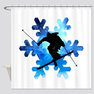 Winter Landscape Freestyle skier in Shower Curtain