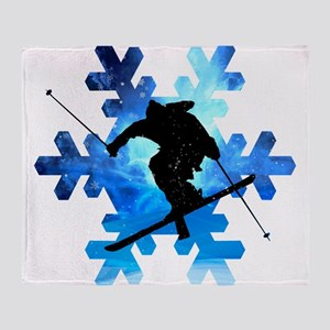 Winter Landscape Freestyle skier in Throw Blanket