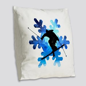 Winter Landscape Freestyle ski Burlap Throw Pillow