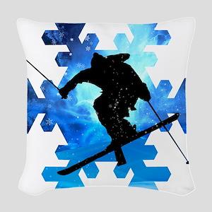 Winter Landscape Freestyle ski Woven Throw Pillow