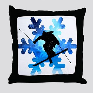 Winter Landscape Freestyle skier in S Throw Pillow