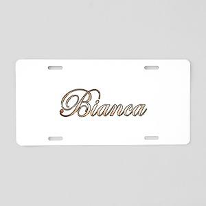 Gold Bianca Aluminum License Plate
