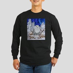 Snowy Owl Digital Art Long Sleeve T-Shirt