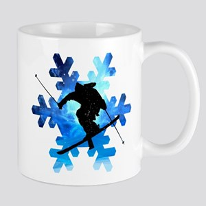 Winter Landscape Freestyle skier in Snowflake Mugs
