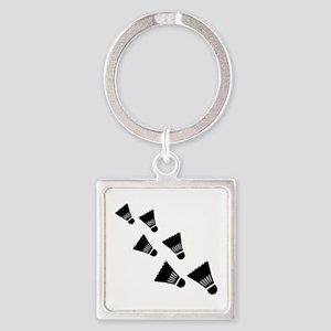 Badminton Shuttlecocks Square Keychain