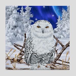 Snowy Owl Digital Art Tile Coaster