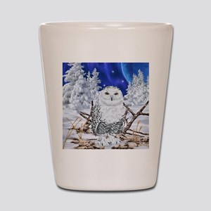 Snowy Owl Digital Art Shot Glass