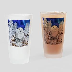Snowy Owl Digital Art Drinking Glass
