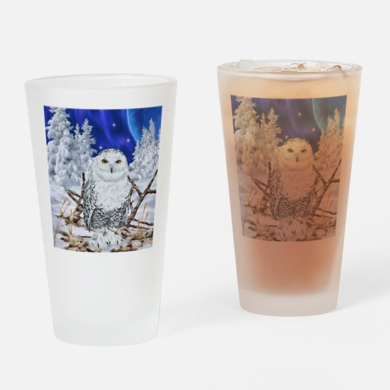 Snowy Owl Digital Art Drinking Glass