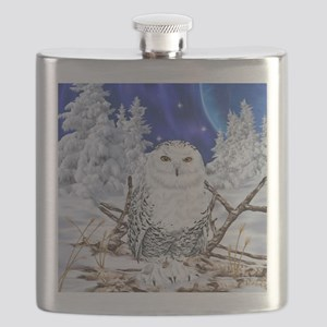 Snowy Owl Digital Art Flask