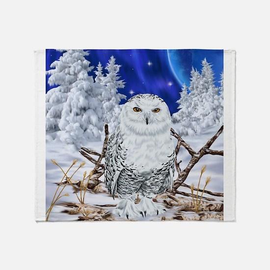 Snowy Owl Digital Art Throw Blanket