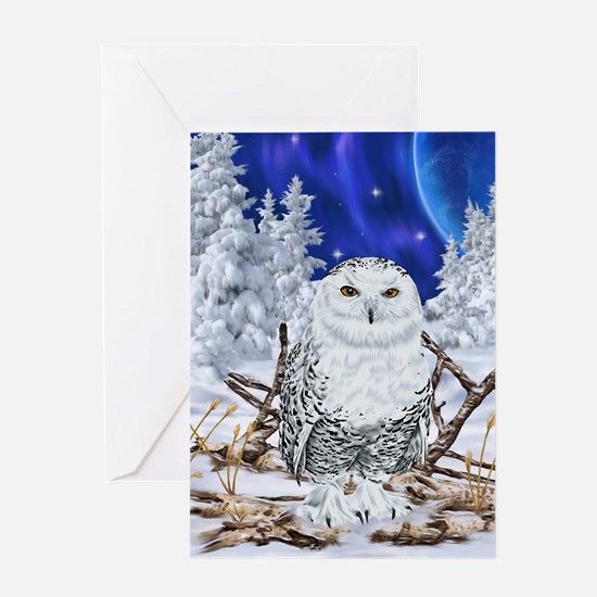 Snowy Owl Digital Art Greeting Cards