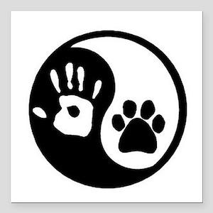 "Yin Yang Hand & Paw Square Car Magnet 3"" x 3"""