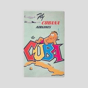 Cuba; Retro Vintage Travel Area Rug
