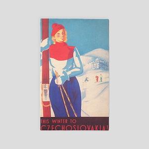 Czechoslovakia Vintage Ski Poster Area Rug