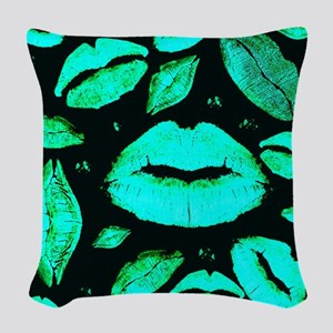 Kisses All Over (Green) Woven Throw Pillow