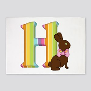 Letter H Chocolate Easter Bunny 5'x7'Area Rug