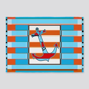 ANCHOR BLUE DOUBLE ORANGE LINES 5'x7'Area Rug