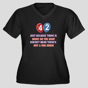 42 year old Women's Plus Size V-Neck Dark T-Shirt