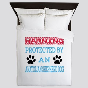Warning Protected by an Anatolian Shep Queen Duvet