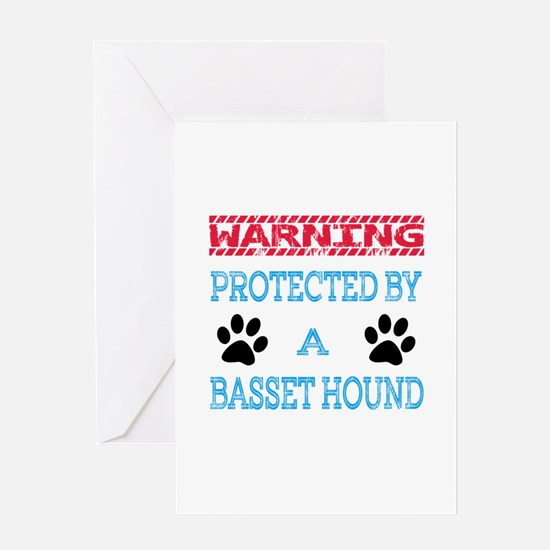 Warning Protected by a Basset Hound Greeting Card