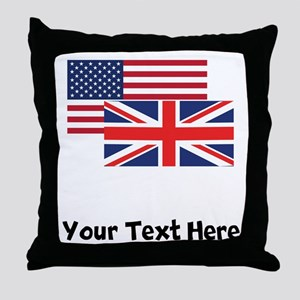 American And British Flag Throw Pillow