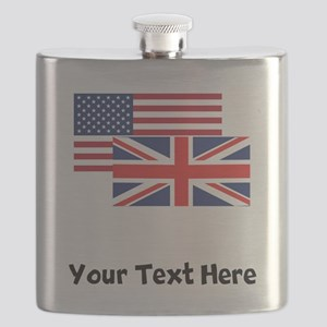 American And British Flag Flask