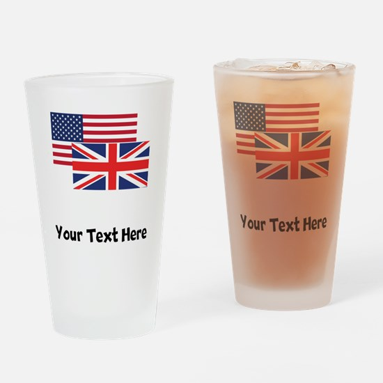 American And British Flag Drinking Glass