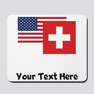 American And Swiss Flag Mousepad