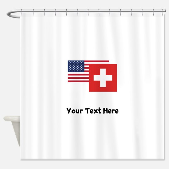 American And Swiss Flag Shower Curtain