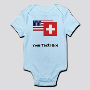 American And Swiss Flag Body Suit