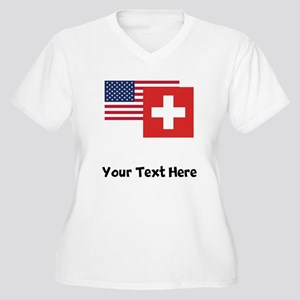 American And Swiss Flag Plus Size T-Shirt