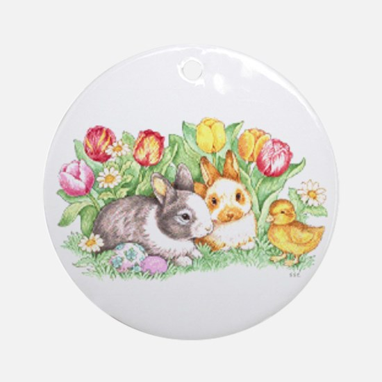 Easter Bunnies, Duckling And Tulips Round Ornament