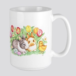 Easter Bunnies, Duckling And Tulips Mugs