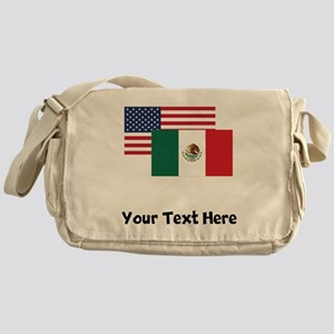 American And Mexican Flag Messenger Bag