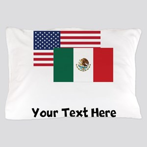 American And Mexican Flag Pillow Case