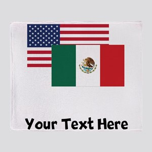 American And Mexican Flag Throw Blanket