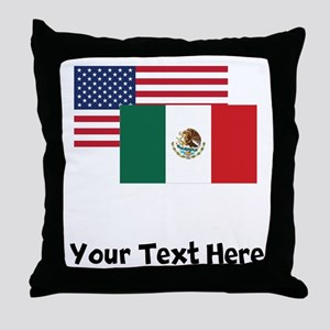 American And Mexican Flag Throw Pillow