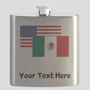 American And Mexican Flag Flask