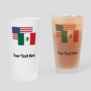 American And Mexican Flag Drinking Glass