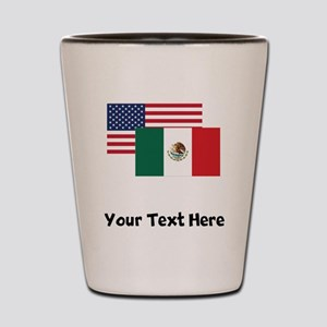American And Mexican Flag Shot Glass