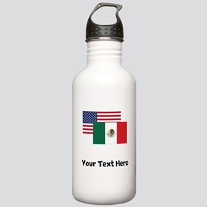 American And Mexican Flag Water Bottle