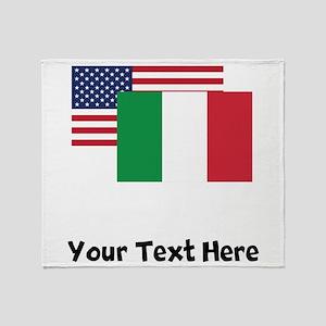 American And Italian Flag Throw Blanket