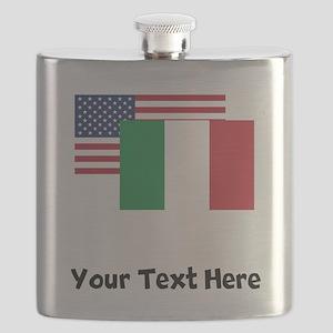 American And Italian Flag Flask